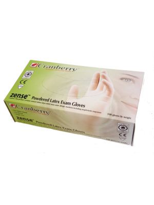 Cranberry Zense Pre-Powdered Latex Exam Gloves