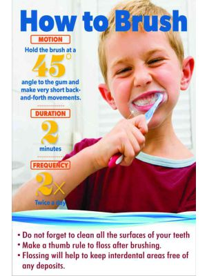 How to Brush - Dental Poster